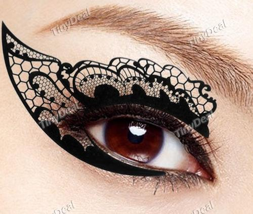 Eyes new face lace instant eyeshadow sticker tattoo for Face tattoo makeup