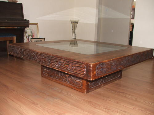 Tables Large Square Carved Wooden Coffee Table With Glass Inlay Was Listed For R4 On 9
