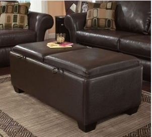 Ottomans Footstools Stylish Leatherette Double Convertible Coffee Table Ottoman Was Sold For
