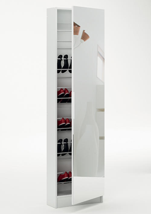 Other bedroom 5 shelves shoe storage cabinet with full for Full length mirror with shelf