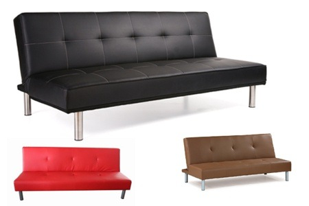 Lounge Suites Stunning Leatherette Sofa Bed Sleeper Couch Black and Red available was sold