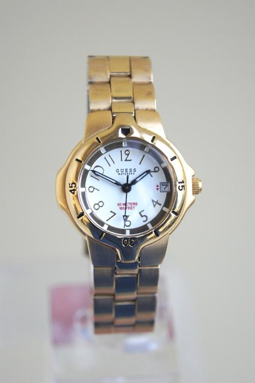 s watches guess gold plated white