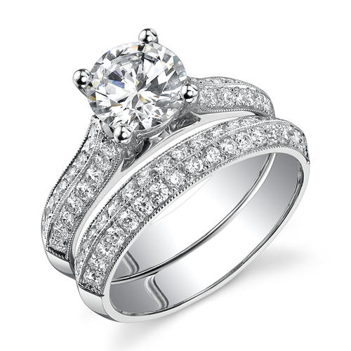 real natural certified round cut diamond wedding band set in