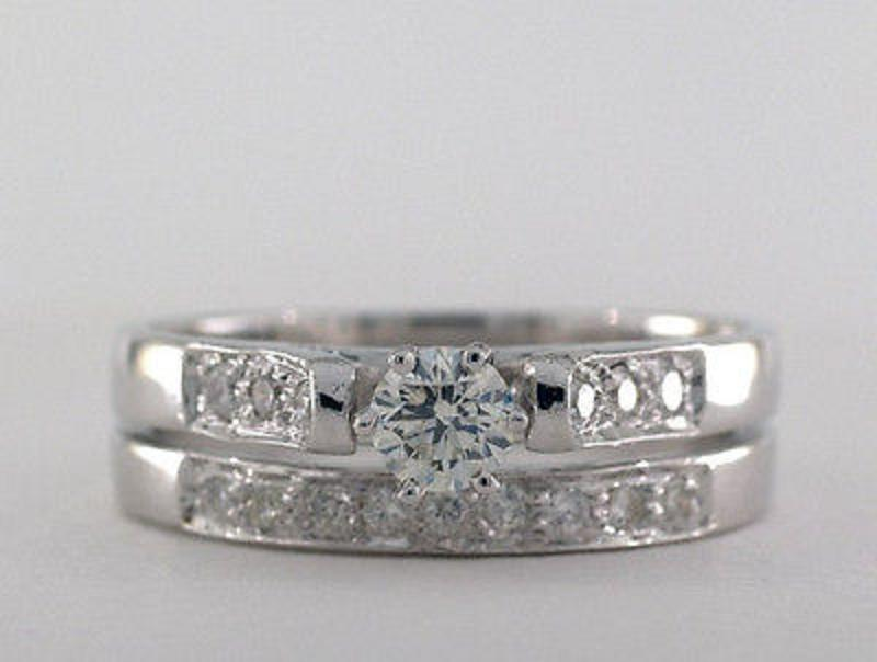 Certified 0 57Cts Real Natural Diamond Engagement Ring I 1 J Color in 10k Whi