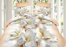 3D Duvet Bedding Peach/ Cream Flower