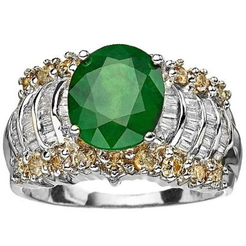 Gold CERTITIFIED 14K SOLID WHITE GOLD COLOMBIAN EMERALD AND DIAMOND RING