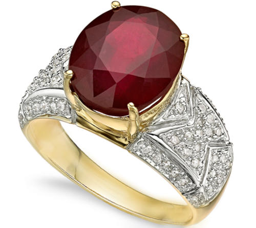 Gold CERTIFIED HEAVY 14K SOLID YELLOW GOLD RUBY AND DIAMOND RING 6 500CT