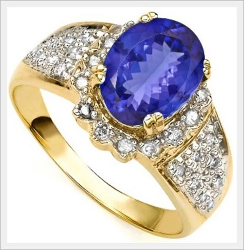 Gold GORGEOUS 14K SOLID YELLOW GOLD A TANZANITE AND DIAMOND RING 1 710CT