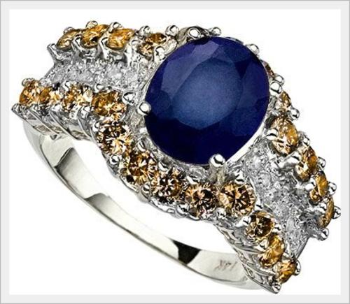 Gold CERTITIFIED 14K SOLID WHITE GOLD CEYLON SAPPHIRE AND DIAMOND RING 5