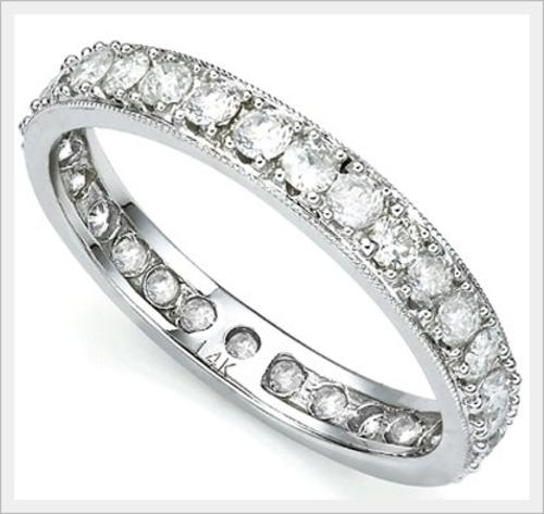 Gold CERTIFIED 14K SOLID WHITE GOLD DIAMOND ETERNITY RING 1 100CTS VALUE