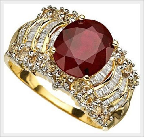 Gold CERTITIFIED 14K SOLID YELLOW GOLD RUBY AND DIAMOND RING 4 600CTS VAL