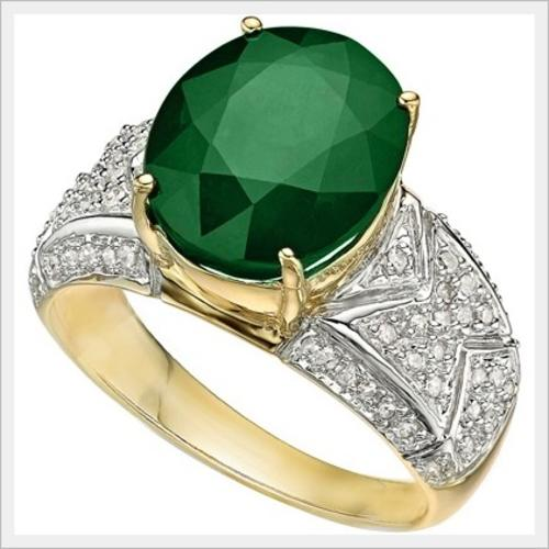 Gold CERTIFIED HEAVY 14K SOLID YELLOW GOLD EMERALD AND DIAMOND RING 5 70