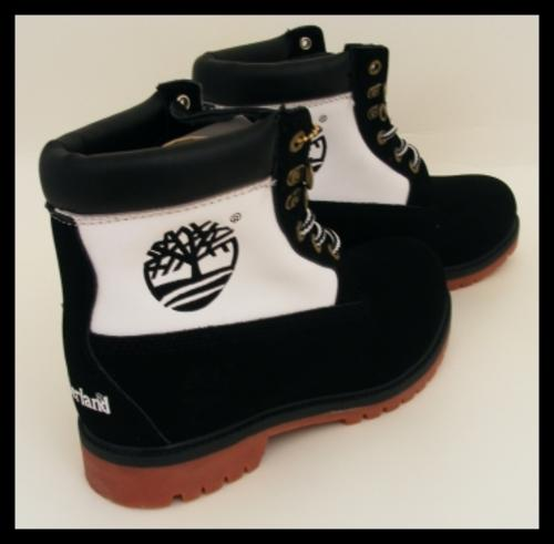 shoes size 8 black and white timberland boots was