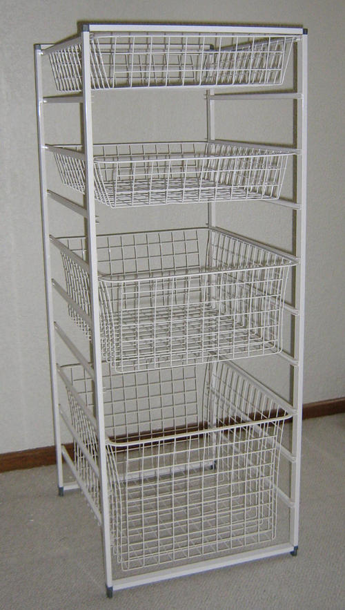 other home decor elfa basket storage system. Black Bedroom Furniture Sets. Home Design Ideas