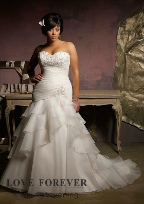 Wedding dresses ivory organza mermaid sweetheart super for Super plus size wedding dresses