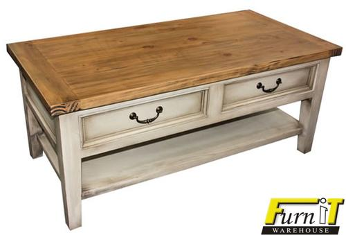 Tables Distressed Coffee Table With Drawers Solid Wood Paint Tech Finish For Sale In George